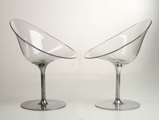 Philippe Starck for Kartell - 2 transparent 'EroS' chairs with a rotating aluminium foot.