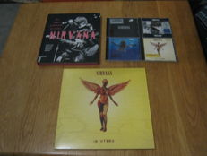very Nice original Nirvana Lot: One collector edition Nirvana book+the In Utero LP+4 off them cd's like: Nevermind+black album+Bleach+in Utero