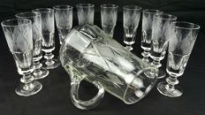 Saint Denis, antique set of 11 pieces, chalices + carafe, in cut and diamond shaped chiselled crystal