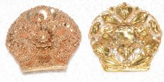 Two antique gold ornamental pin - 19th century