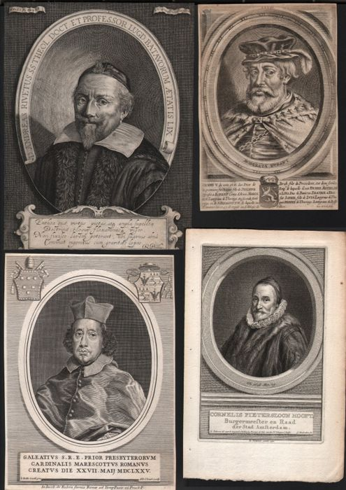 Hendrik Hondius I ( 1573-1650) en Pieter de Jode II  (1606-1674) - Portraits, a group of four including Henry V and Dr Rivetus