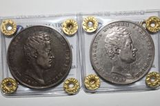 Kingdom of Sardinia - 5 Lire 1848 and 5 Lire 1849 King Carlo Alberto Genoa - (2 coins)