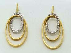 Gold 18 kt (750) Earrings with diamonds SI, I of 0.15 ct