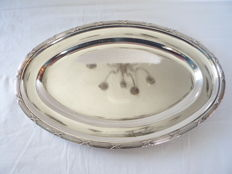 Silver plated serving tray with crossed bands, France, ca. 1930