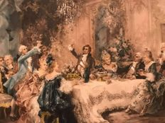 Vicente de Paredes (Spanish 1845 1903) Christmas Dinner in Palace