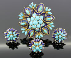 Kutchinsky - Vintage 18K Yellow Gold Jewellery Set: Ring, Earrings, Brooch With Turquoise, Diamonds and Blue Enamel, London 1969