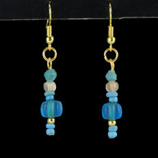 Earrings with Roman blue and melon glass beads 5 cm