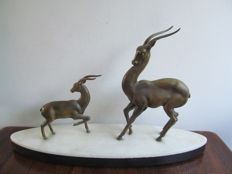 Antelopes - Patinated metal Art Deco sculpture