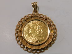 Switzerland - 20 Francs 1915 B 'Vreneli' mounted on an 18 kt gold pendant (total 12.4 g) - gold