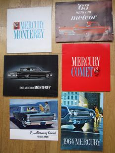 MERCURY lot de 6 brochures originales Comet, Meteor, Monterey, Park Lane, Montclair, Station wagons de 1961 à 1963