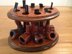 Lot of n. 8 beautiful pipes plus wooden pipe rack!!