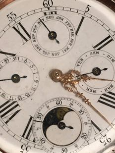 Triple Calendar with Moonphase steel pocket watch that works perfectly, 'no reserve price'