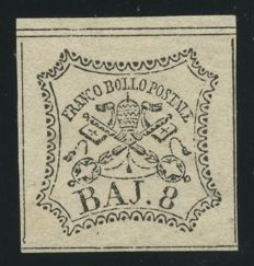 Papal States, 1852 - 8 baj, white - Sass. No.  9