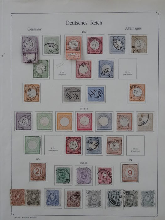 German Reich 1872/1918 - collection on old KaBe preprint sheets