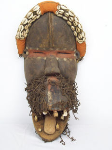 Wooden Mask with Moving Lower Jaw. Africa, Dan, Liberia, Cowrie Shell Teeth, 46 cm.