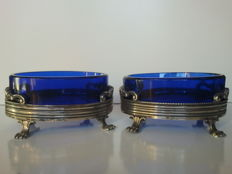 Antique pair of salt cellars in silver and glass - Papal States, Rome 1815/1870