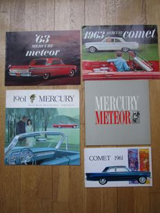 MERCURY lot de 5 brochures originales Comet, Meteor, Monterey, Station wagons de 1961 à 1963