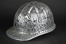 Beautiful, finely decorated miner's helmet of aluminium - Indonesia - late 20th century