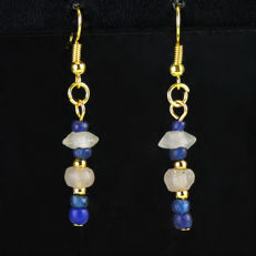 Earrings with Roman blue glass beads - jewellery box included