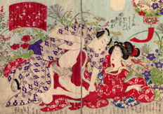 Original shunga woodblock-printed double page illlustration by an unknown artist - Two Lovers surrounded by Flowers - Japan - ca. 1860