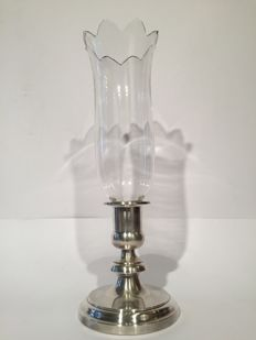 Elegant single-light lamp Christofle-Baccarat - France, mid 20th century