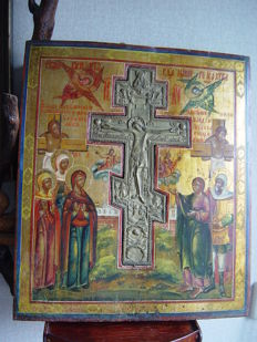 A large Icon with bronze blessing cross - Russia - late 19th century