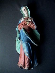 Antique polychrome wooden saint statue / sculpture - weeping Madonna/Mary - Flanders - 2nd half of 18th century