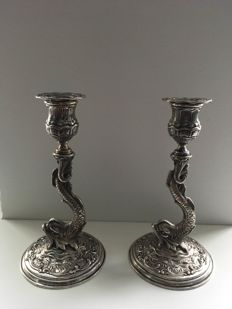 Set silver dolphin candle stands after antique example, 20th century
