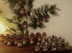 Pottery Christmas bells Santa Claus and berkalith Santa Claus on bicycle candle table holders