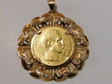 France - 20 Francs 1855 BB mounted in a pendant (total weight: 10.5 g) - Napoleon III - Gold