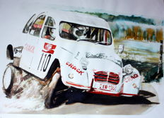 Citroen 2hp. Rally Car - 50 x 70 cm Watercolour - Gilberto Gaspar