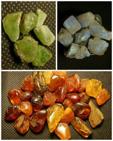 Collection of natural crystals: amber, peridot, moonstone- 310 ct.