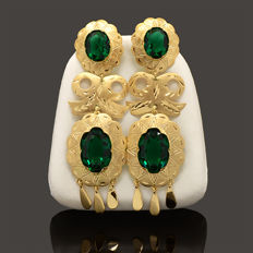 18k/750 yellow gold earrings antique design with zirconia - Length: 62.2 mm.