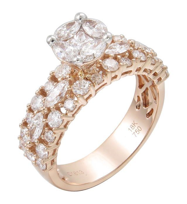 Very beautiful classic ring in 18 kt pink gold, set with a brilliant-cut diamond, +/- 0.85 ct, colour D-F, and with 40 brilliant-cut diamonds, colour D-F, clarity VVS-VS. Total weight: 5.70 g Ring size: 54