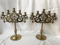Two large, brass candlesticks for 5 candles, engraved with dragons - China - late-20th century