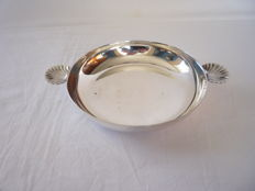 Silver plated dish with handles in the shape of a shell, France, ca.1960