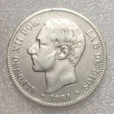 Spain – Alfonso XII – 5 Pesetas – 1884 (84) MS-M – Silver