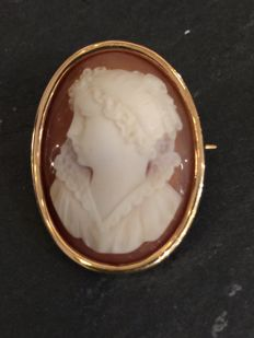Cameo brooch/pendant made of 14 kt yellow gold