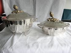 Two heavy silver (table) tureens with gilded flower bud and handles with leaf shapes, JMS, Mexico, 20th century