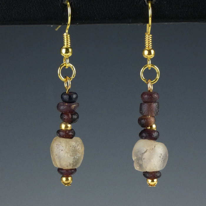 Earrings with Roman purple and semi-translucent glass beads - jewellery box included