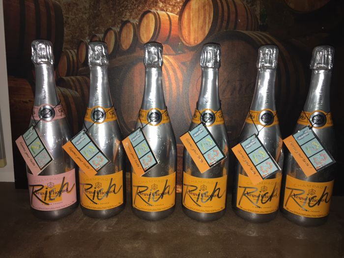 5x Rich & 1x Rich Rosé, Veuve Clicquot Rich Champagne - 6 bottles total (75cl)