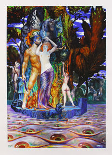 Ernst Fuchs - Perseus and Aphrodite on the island of the eyes
