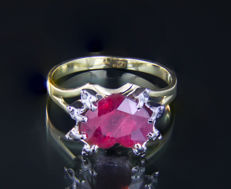 3.4 ct. Ruby 14 k Gold Ring With Black Diamonds. *No reserve* *Free resizing*.