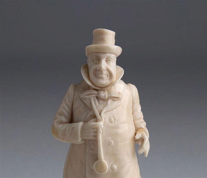 'Wilkins Micawber',  ivory sculpture - England, late 19th century