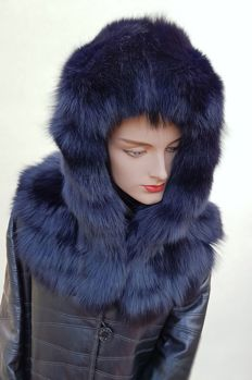 Blue fox fur hood/hat (Made in Italy)