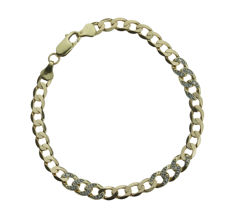 14 karat gold men's link bracelet set with diamonds - curb links - 21.5 cm