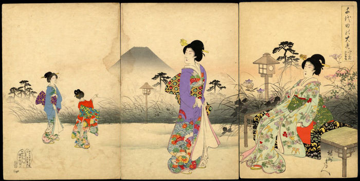 "Woodcut triptych by Toyohara Chikanobu (1832-1912) ""garden Viewing""- Japan - 1893"