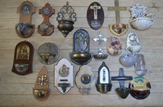 Lot of 20 antique holy water vessels
