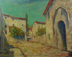Jan Jacob Lodewijk Ten Kate II (1883 - ....) - Mediterranean village street with gate