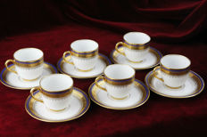 Vignaud Brothers, 6 Cups & Saucers, Limoges Gold plated 24-carat gold rims - made for export to New York, Phliadelphia